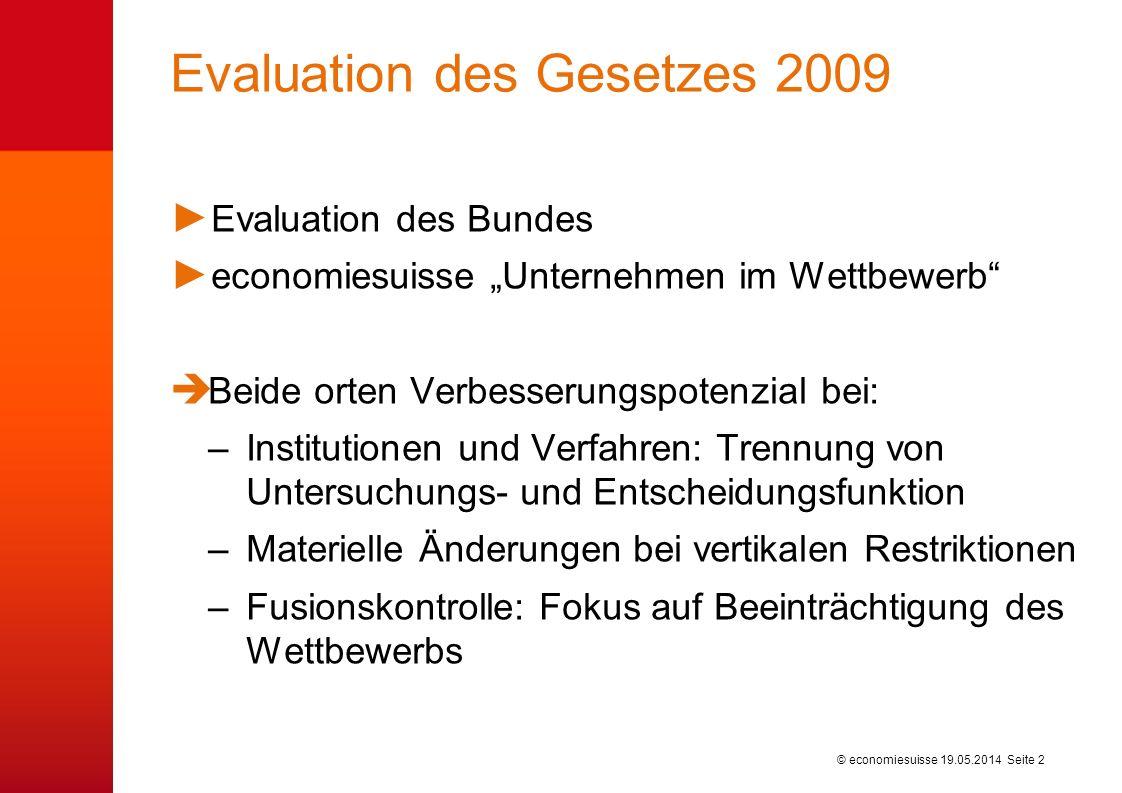 © economiesuisse Evaluation des Gesetzes 2009 Evaluation des Bundes economiesuisse Unternehmen im Wettbewerb Beide orten Verbesserungspotenzial bei: –