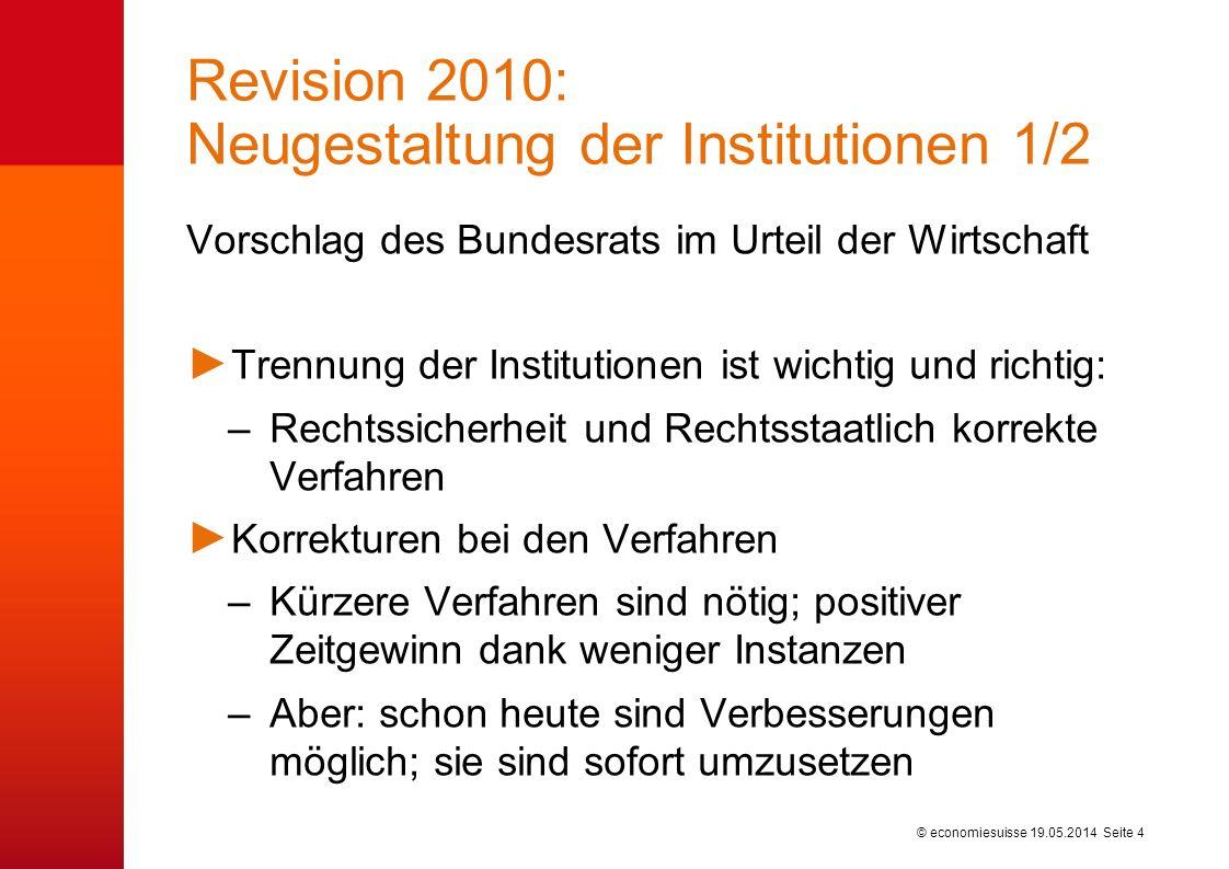 © economiesuisse Revision 2010: Neugestaltung der Institutionen 1/2 19.05.2014 Seite 4 Vorschlag des Bundesrats im Urteil der Wirtschaft Trennung der