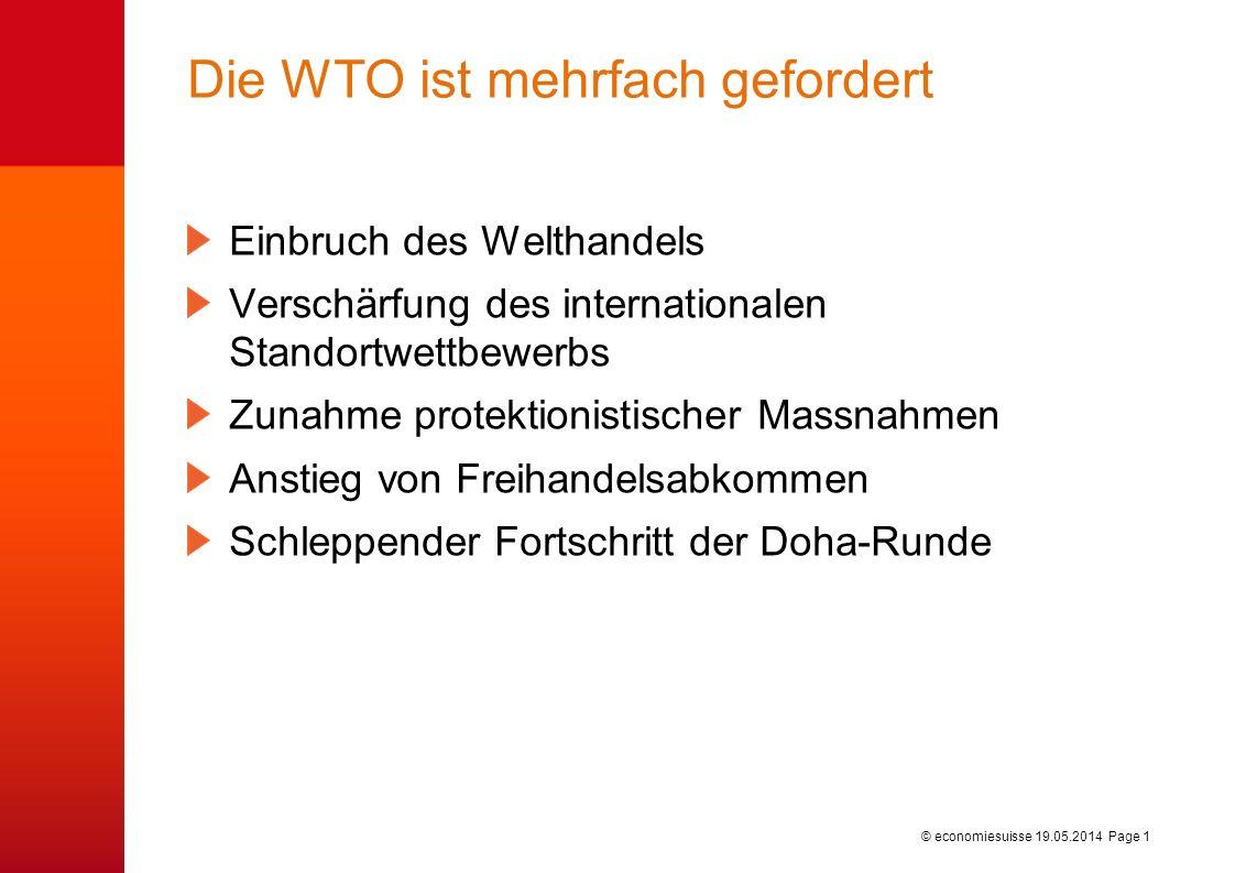 © economiesuisse Die WTO ist mehrfach gefordert Einbruch des Welthandels Verschärfung des internationalen Standortwettbewerbs Zunahme protektionistischer Massnahmen Anstieg von Freihandelsabkommen Schleppender Fortschritt der Doha-Runde 19.05.2014 Page 1