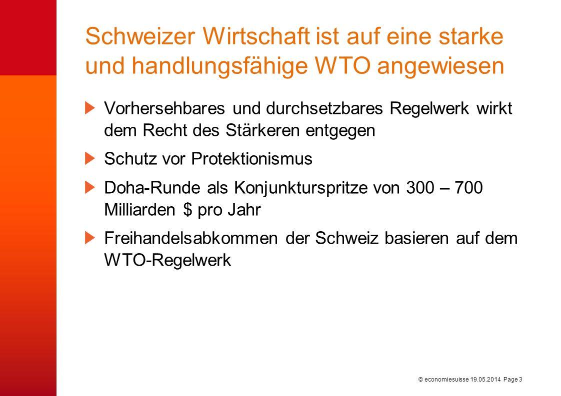 © economiesuisse Schweizer Wirtschaft ist auf eine starke und handlungsfähige WTO angewiesen Vorhersehbares und durchsetzbares Regelwerk wirkt dem Recht des Stärkeren entgegen Schutz vor Protektionismus Doha-Runde als Konjunkturspritze von 300 – 700 Milliarden $ pro Jahr Freihandelsabkommen der Schweiz basieren auf dem WTO-Regelwerk 19.05.2014 Page 3