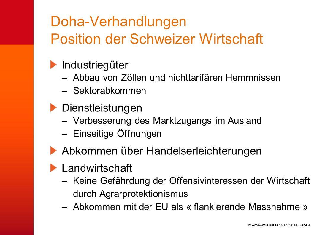 © economiesuisse Doha-Verhandlungen Position der Schweizer Wirtschaft Industriegüter –Abbau von Zöllen und nichttarifären Hemmnissen –Sektorabkommen Dienstleistungen –Verbesserung des Marktzugangs im Ausland –Einseitige Öffnungen Abkommen über Handelserleichterungen Landwirtschaft –Keine Gefährdung der Offensivinteressen der Wirtschaft durch Agrarprotektionismus –Abkommen mit der EU als « flankierende Massnahme » 19.05.2014 Seite 4