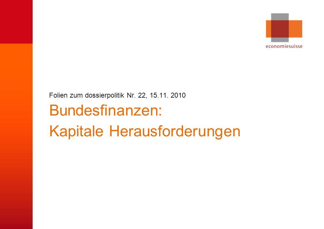 © economiesuisse Bundesfinanzen: Kapitale Herausforderungen Folien zum dossierpolitik Nr. 22, 15.11. 2010