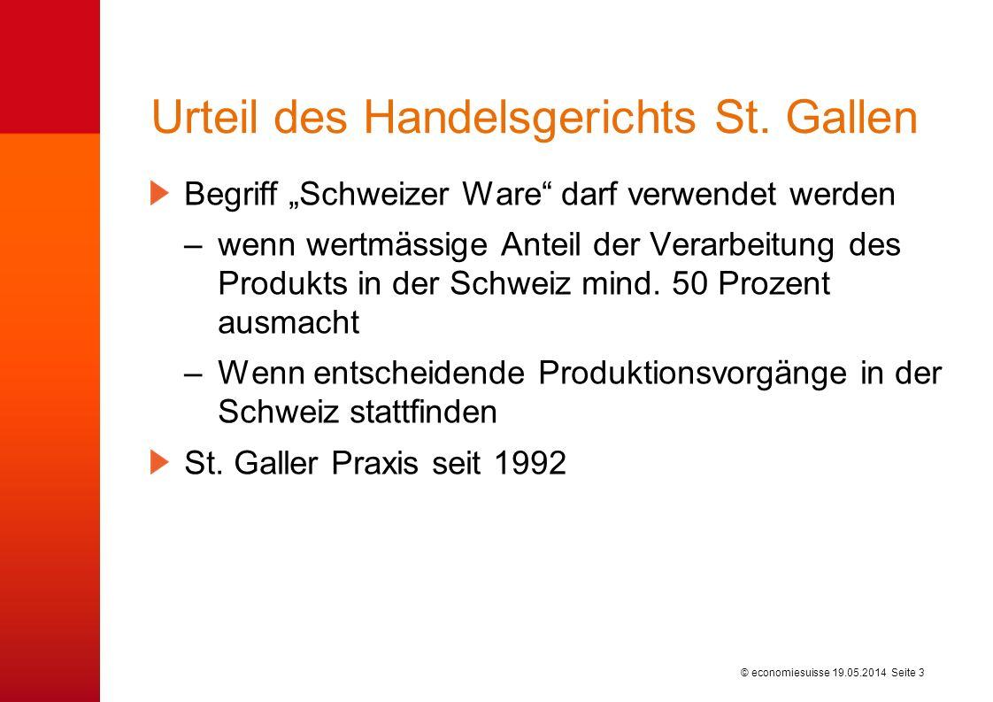 © economiesuisse Urteil des Handelsgerichts St. Gallen Begriff Schweizer Ware darf verwendet werden –wenn wertmässige Anteil der Verarbeitung des Prod