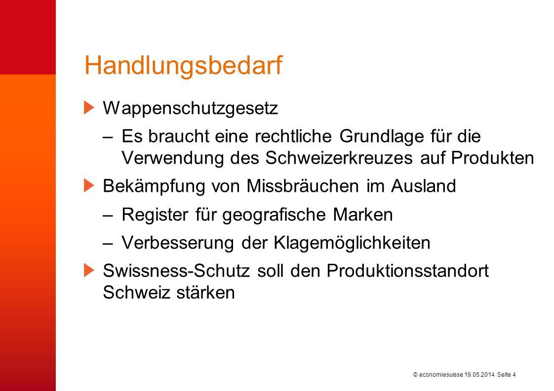 © economiesuisse Handlungsbedarf Wappenschutzgesetz –Es braucht eine rechtliche Grundlage für die Verwendung des Schweizerkreuzes auf Produkten Bekämp