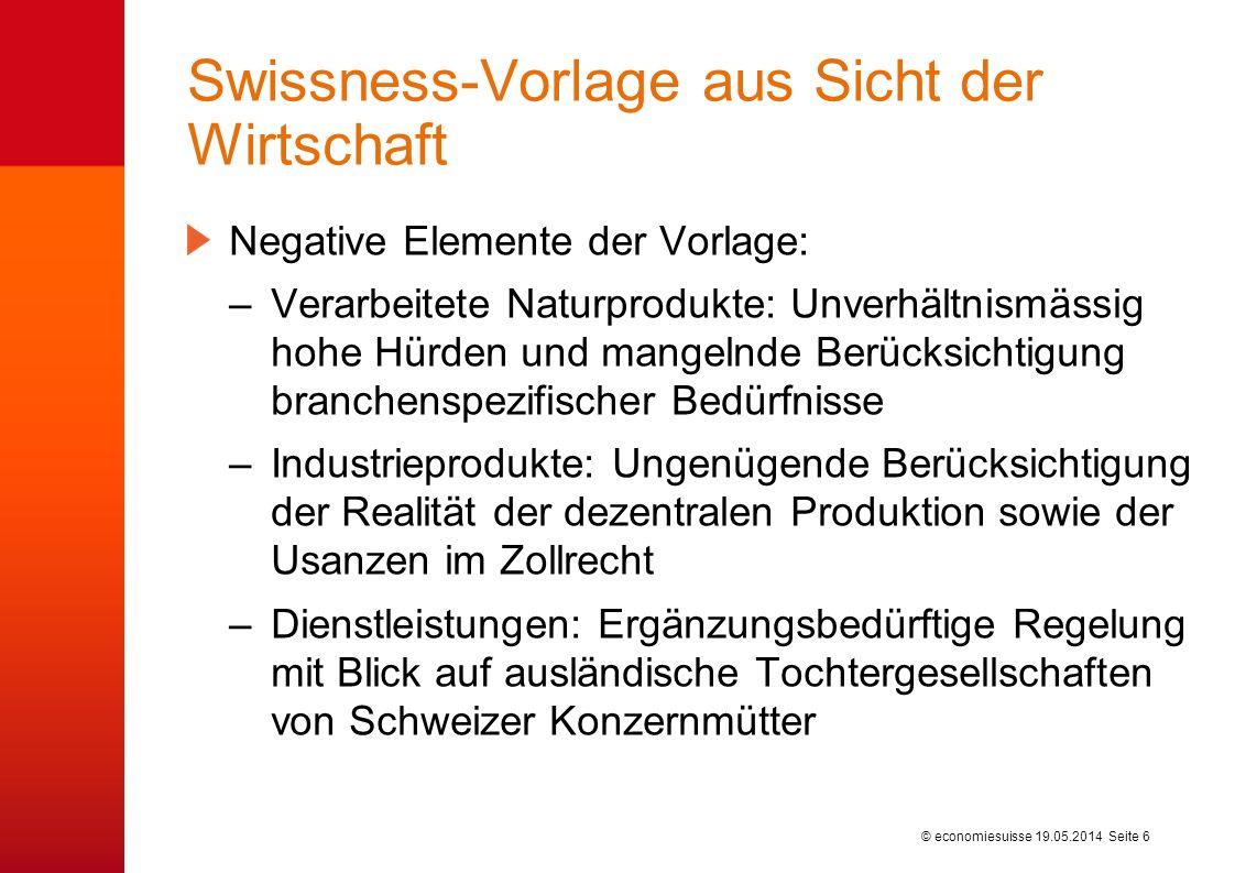 © economiesuisse Swissness-Vorlage aus Sicht der Wirtschaft Negative Elemente der Vorlage: –Verarbeitete Naturprodukte: Unverhältnismässig hohe Hürden