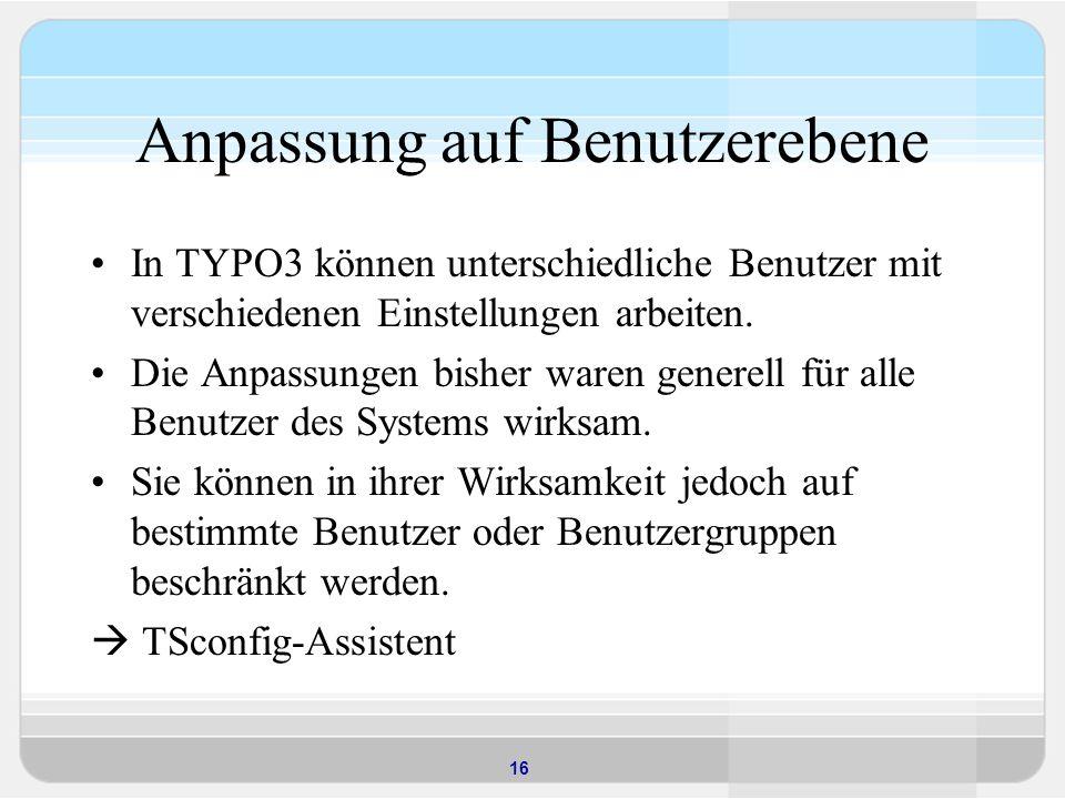 16 Anpassung auf Benutzerebene In TYPO3 können unterschiedliche Benutzer mit verschiedenen Einstellungen arbeiten.