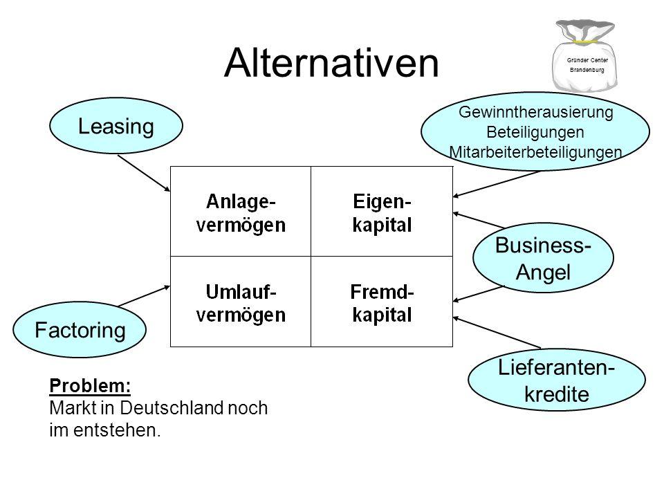 Alternativen Leasing Factoring Lieferanten- kredite Business- Angel Gewinntherausierung Beteiligungen Mitarbeiterbeteiligungen Problem: Markt in Deuts