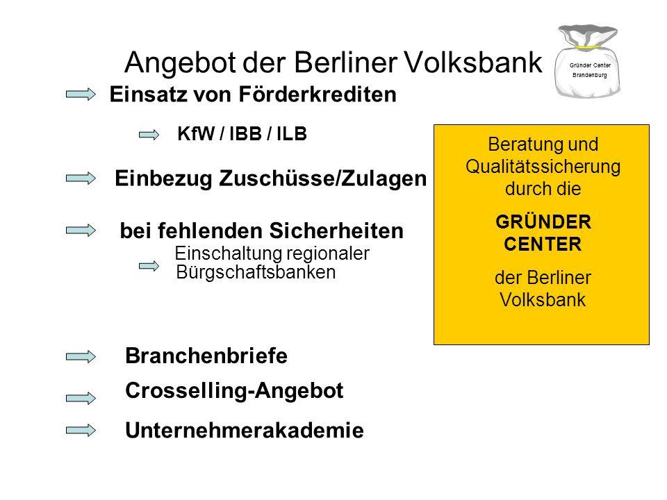 Angebot der Berliner Volksbank Einsatz von Förderkrediten Einbezug Zuschüsse/Zulagen bei fehlenden Sicherheiten Einschaltung regionaler Bürgschaftsban