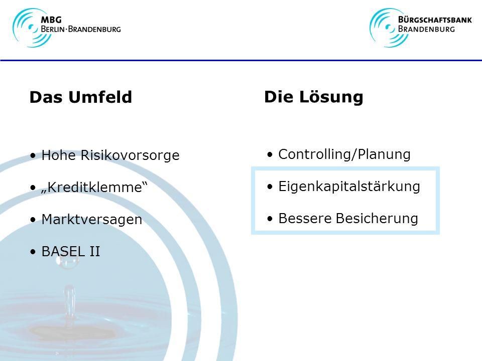 Das Umfeld Hohe Risikovorsorge Kreditklemme Marktversagen BASEL II Die Lösung Controlling/Planung Eigenkapitalstärkung Bessere Besicherung
