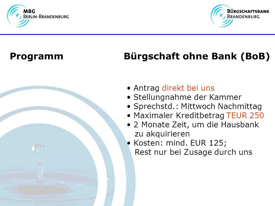Programm Bürgschaft ohne Bank (BoB) Antrag direkt bei uns Stellungnahme der Kammer Sprechstd.: Mittwoch Nachmittag Maximaler Kreditbetrag TEUR 250 2 Monate Zeit, um die Hausbank zu akquirieren Kosten: mind.
