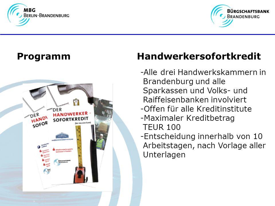 Programm Handwerkersofortkredit -Alle drei Handwerkskammern in Brandenburg und alle Sparkassen und Volks- und Raiffeisenbanken involviert -Offen für alle Kreditinstitute -Maximaler Kreditbetrag TEUR 100 -Entscheidung innerhalb von 10 Arbeitstagen, nach Vorlage aller Unterlagen