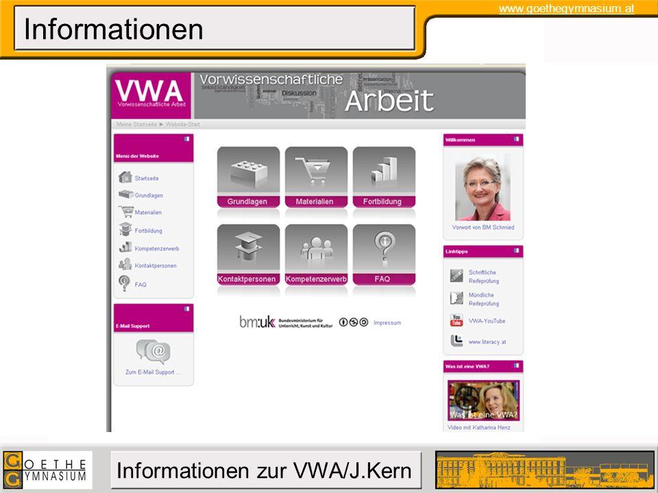 www.goethegymnasium.at Informationen zur VWA/J.Kern Informationen