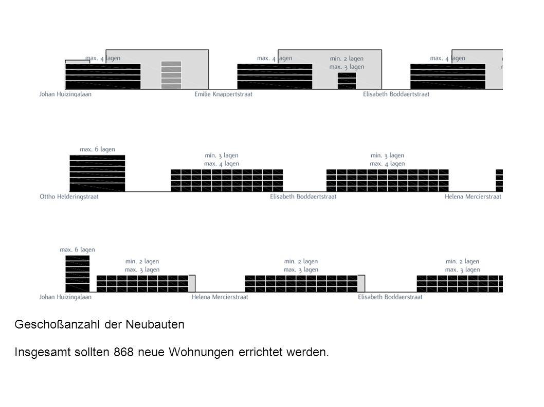 Geschoßanzahl der Neubauten Insgesamt sollten 868 neue Wohnungen errichtet werden.