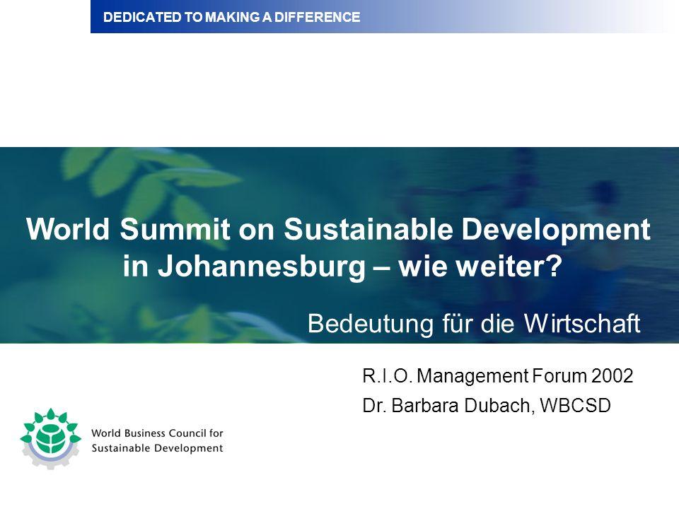 Inhalt Bedeutung des Weltgipfel für die Wirtschaft Ausblick WBCSD