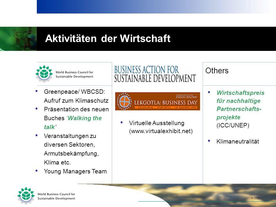 Greenpeace/ WBCSD: Aufruf zum Klimaschutz Präsentation des neuen Buches Walking the talk Veranstaltungen zu diversen Sektoren, Armutsbekämpfung, Klima etc.
