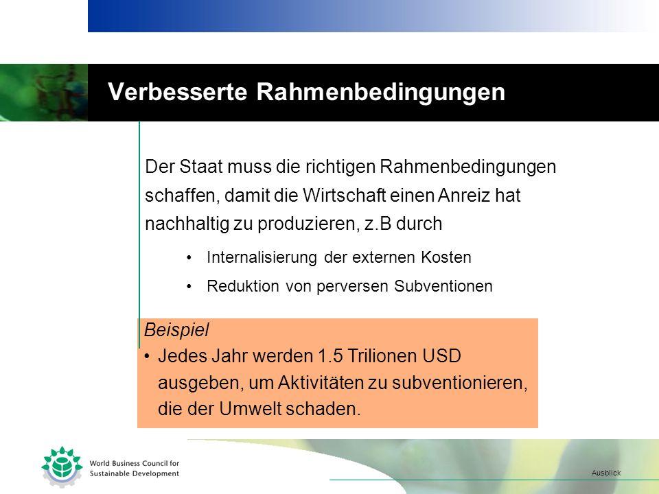 Verbesserte Rahmenbedingungen Beispiel Jedes Jahr werden 1.5 Trilionen USD ausgeben, um Aktivitäten zu subventionieren, die der Umwelt schaden.
