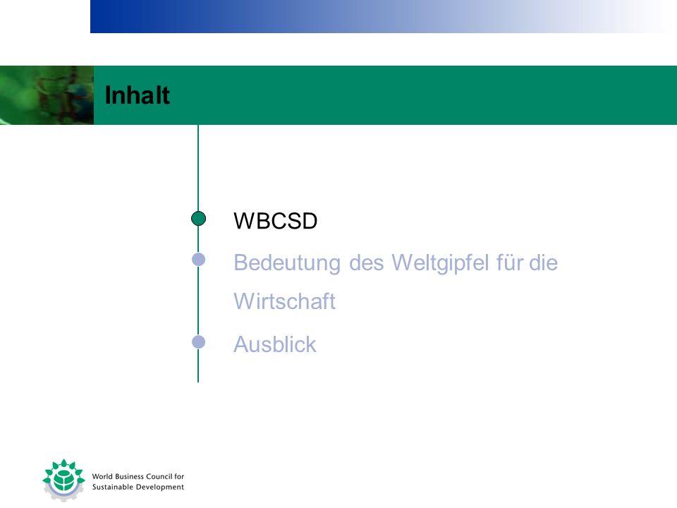 Bedeutung des Weltgipfel für die Wirtschaft Ausblick WBCSD Inhalt