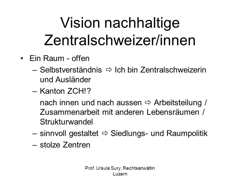 Prof. Ursula Sury, Rechtsanwältin Luzern Vision nachhaltige Zentralschweizer/innen Ein Raum - offen –Selbstverständnis Ich bin Zentralschweizerin und