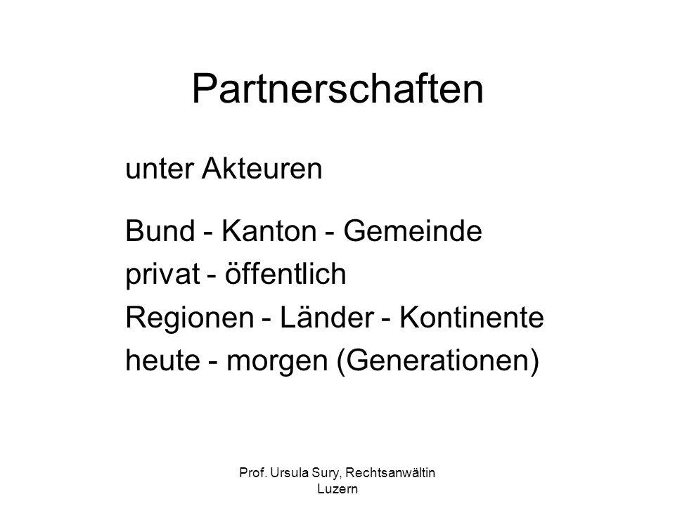 Prof. Ursula Sury, Rechtsanwältin Luzern Partnerschaften unter Akteuren Bund - Kanton - Gemeinde privat - öffentlich Regionen - Länder - Kontinente he