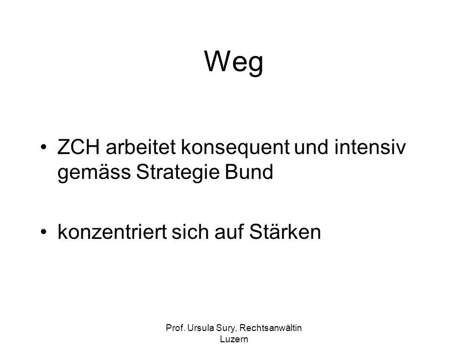 Prof. Ursula Sury, Rechtsanwältin Luzern Weg ZCH arbeitet konsequent und intensiv gemäss Strategie Bund konzentriert sich auf Stärken