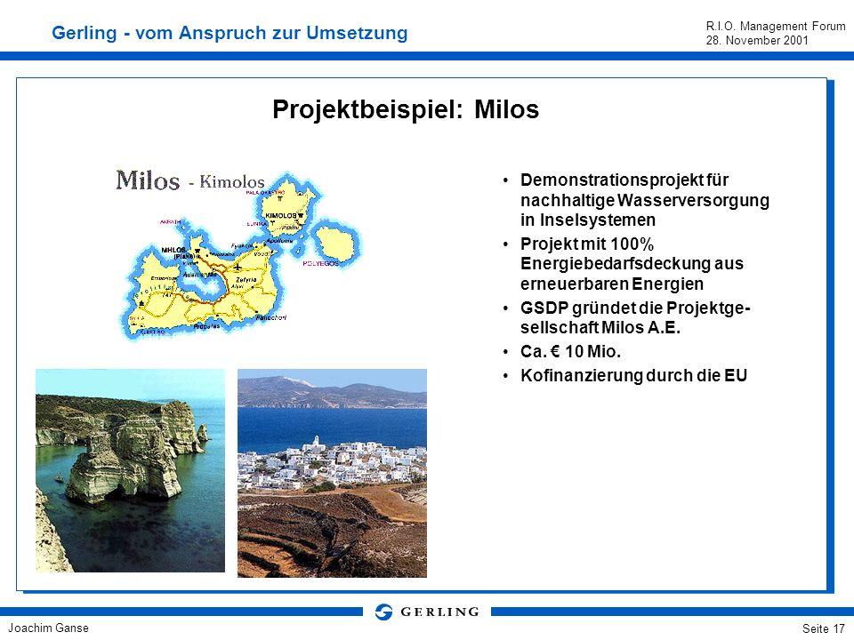 Joachim Ganse R.I.O. Management Forum 28. November 2001 Seite 16 Die Gerling Sustainable Development Project GmbH (GSDP) - ein weiterer Schritt auf de