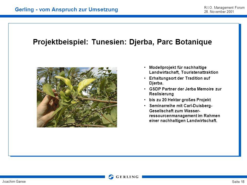 Joachim Ganse R.I.O. Management Forum 28. November 2001 Seite 17 Projektbeispiel: Milos Demonstrationsprojekt für nachhaltige Wasserversorgung in Inse