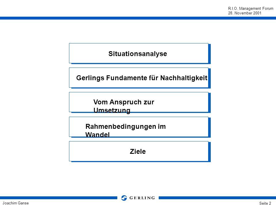 Joachim Ganse R.I.O. Management Forum 28. November 2001 Seite 1 Nachhaltige Entwicklung aus der Sicht eines global agierenden Versicherers Joachim Gan