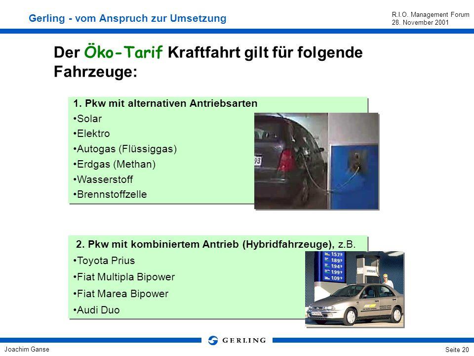 Joachim Ganse R.I.O. Management Forum 28. November 2001 Seite 19 Preisnachlaß für alle nach EMAS oder ISO 14001 zertifizierten KMU's von 10 % in der G