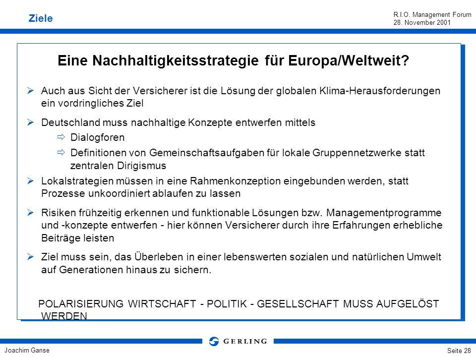 Joachim Ganse R.I.O. Management Forum 28. November 2001 Seite 27 Rahmenbedingungen im Wandel