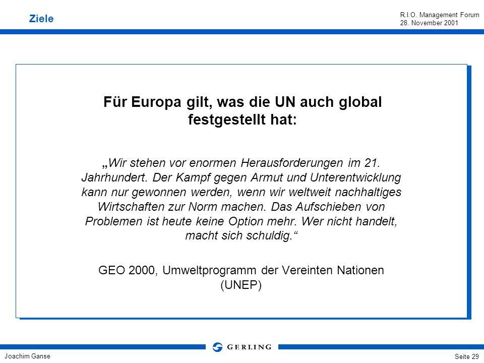 Joachim Ganse R.I.O. Management Forum 28. November 2001 Seite 28 Eine Nachhaltigkeitsstrategie für Europa/Weltweit? Auch aus Sicht der Versicherer ist