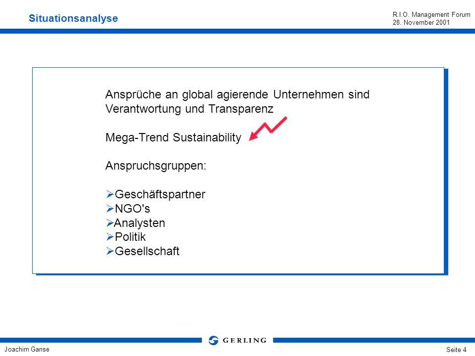 Joachim Ganse R.I.O. Management Forum 28. November 2001 Seite 3 Gestatten, Gerling. Versicherungsprodukte für die Industrie, für mittelständische Unte