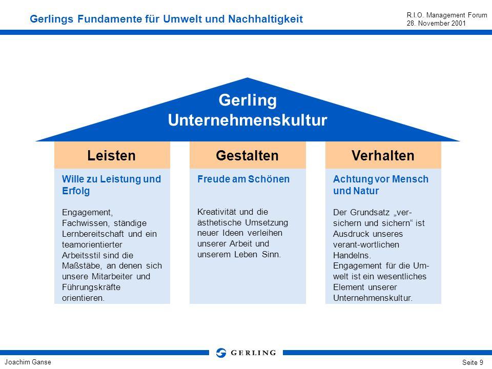 Joachim Ganse R.I.O. Management Forum 28. November 2001 Seite 8 Die Umweltaktivitäten und unser Engagement für eine nachhaltige Entwicklung fußen auf
