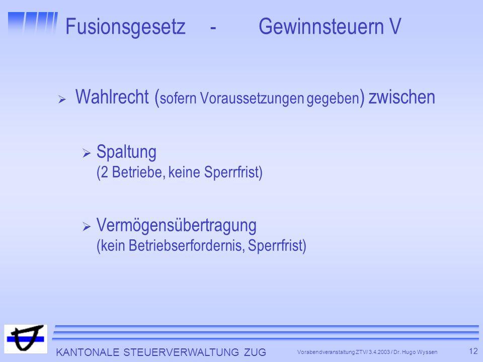 KANTONALE STEUERVERWALTUNG ZUG 12 Vorabendveranstaltung ZTV/ 3.4.2003 / Dr.
