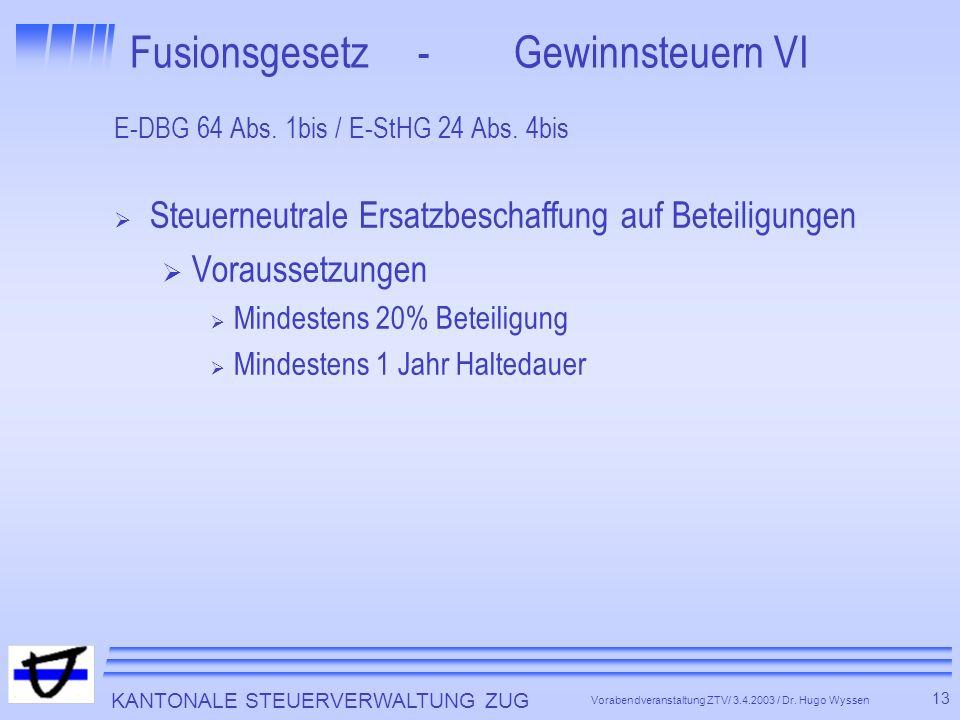 KANTONALE STEUERVERWALTUNG ZUG 13 Vorabendveranstaltung ZTV/ 3.4.2003 / Dr.