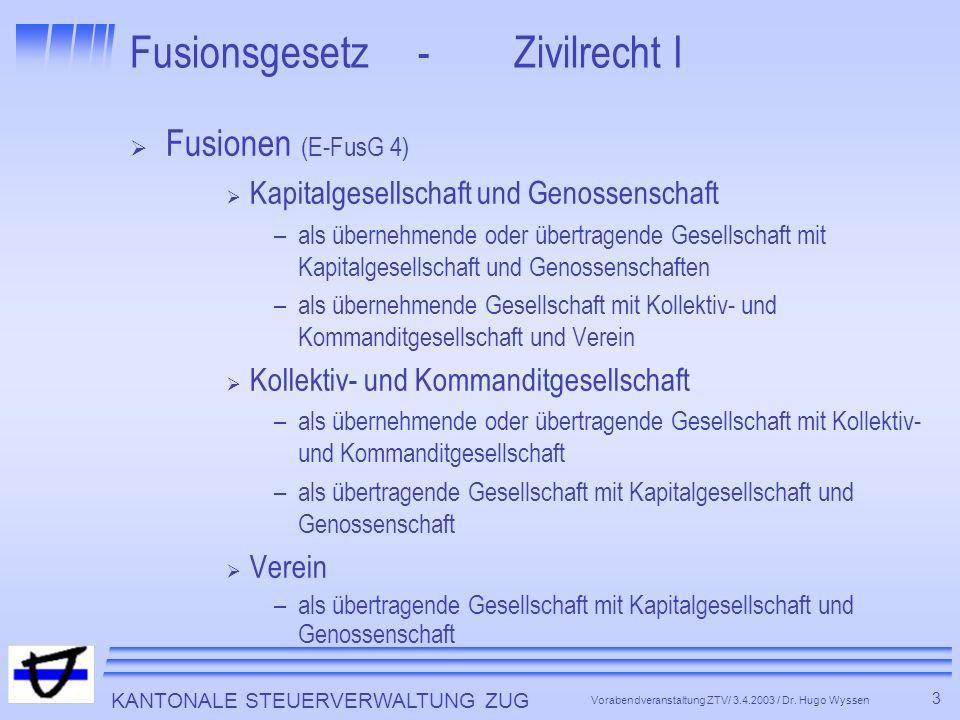 KANTONALE STEUERVERWALTUNG ZUG 4 Vorabendveranstaltung ZTV/ 3.4.2003 / Dr.