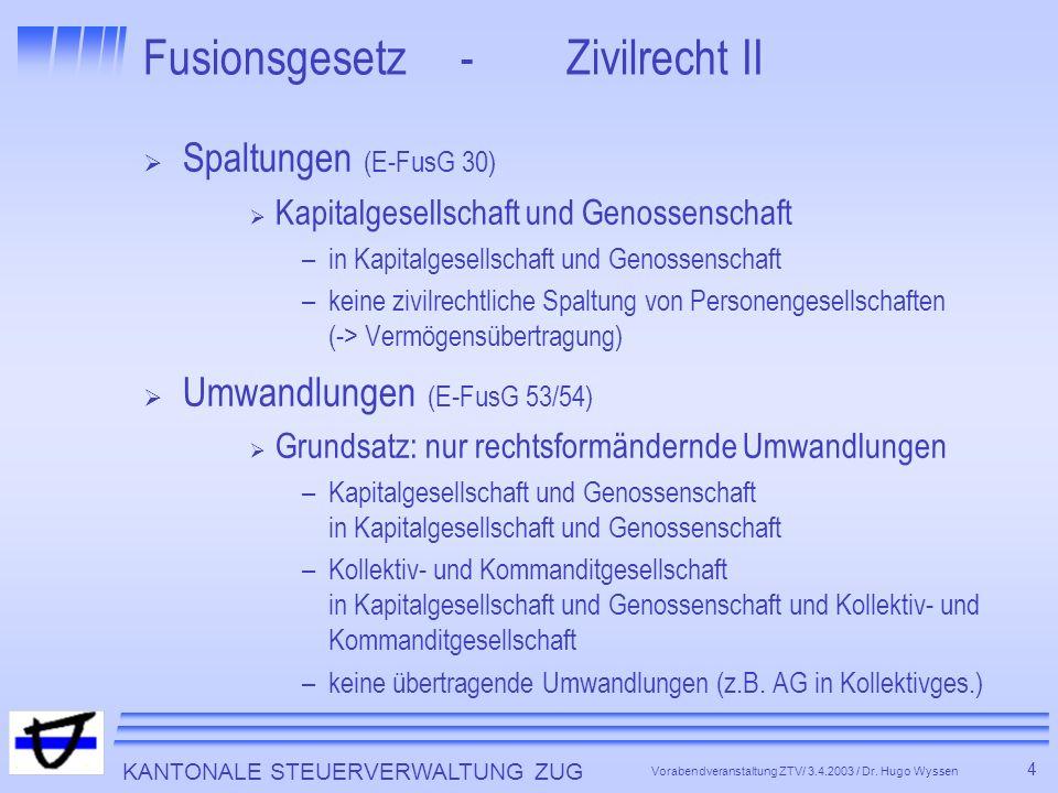 KANTONALE STEUERVERWALTUNG ZUG 15 Vorabendveranstaltung ZTV/ 3.4.2003 / Dr.