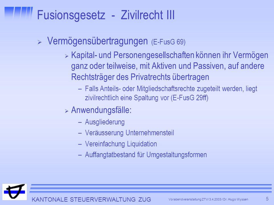KANTONALE STEUERVERWALTUNG ZUG 6 Vorabendveranstaltung ZTV/ 3.4.2003 / Dr.