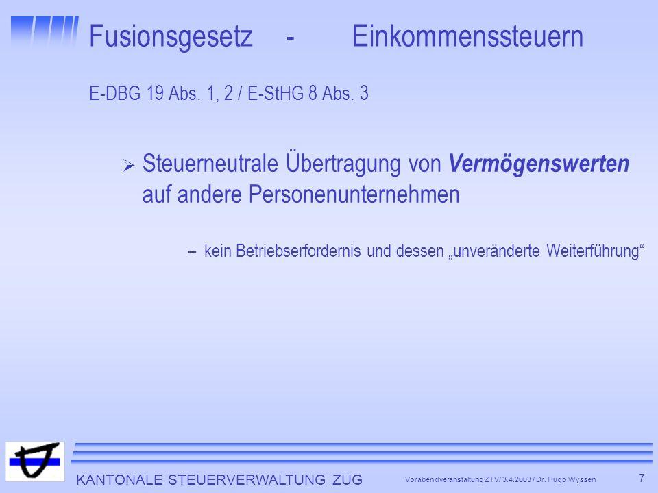 KANTONALE STEUERVERWALTUNG ZUG 7 Vorabendveranstaltung ZTV/ 3.4.2003 / Dr.