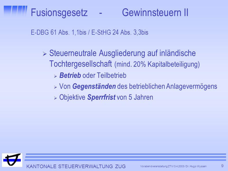 KANTONALE STEUERVERWALTUNG ZUG 10 Vorabendveranstaltung ZTV/ 3.4.2003 / Dr.