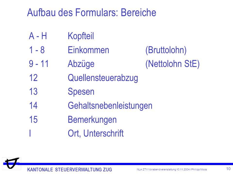 KANTONALE STEUERVERWALTUNG ZUG 10 NLA ZTV Vorabendveranstaltung 10.11.2004 / Philipp Moos Aufbau des Formulars: Bereiche A - HKopfteil 1 - 8Einkommen(