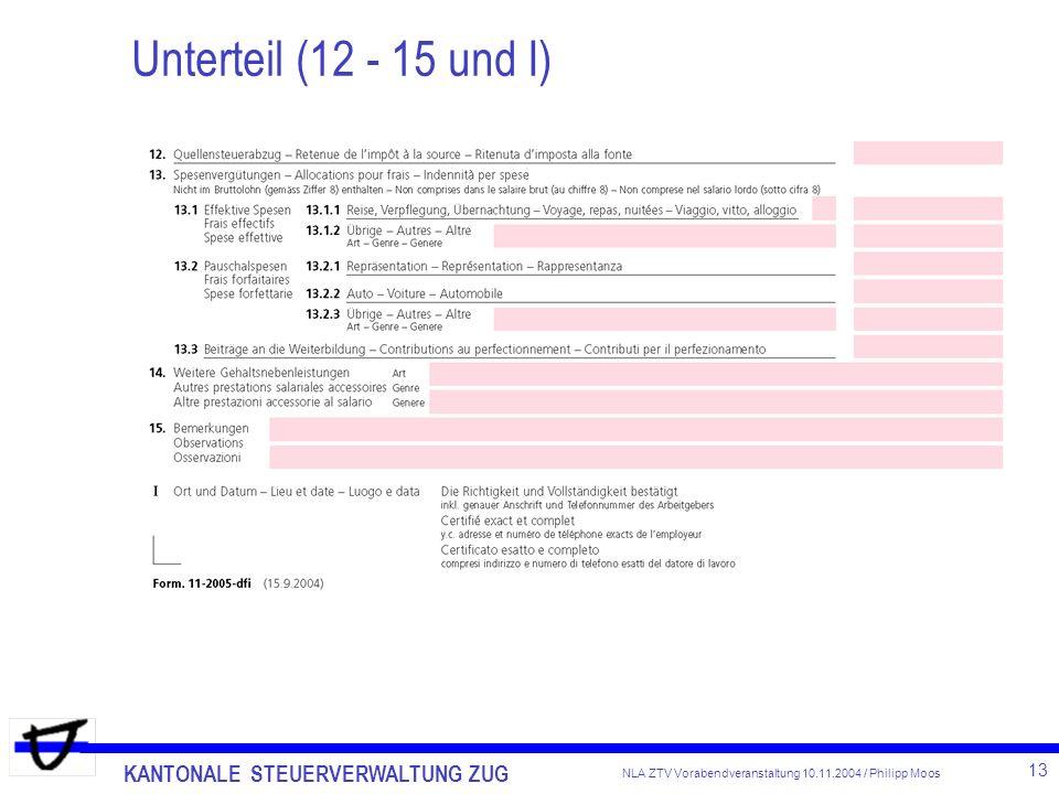 KANTONALE STEUERVERWALTUNG ZUG 13 NLA ZTV Vorabendveranstaltung 10.11.2004 / Philipp Moos Unterteil (12 - 15 und I)