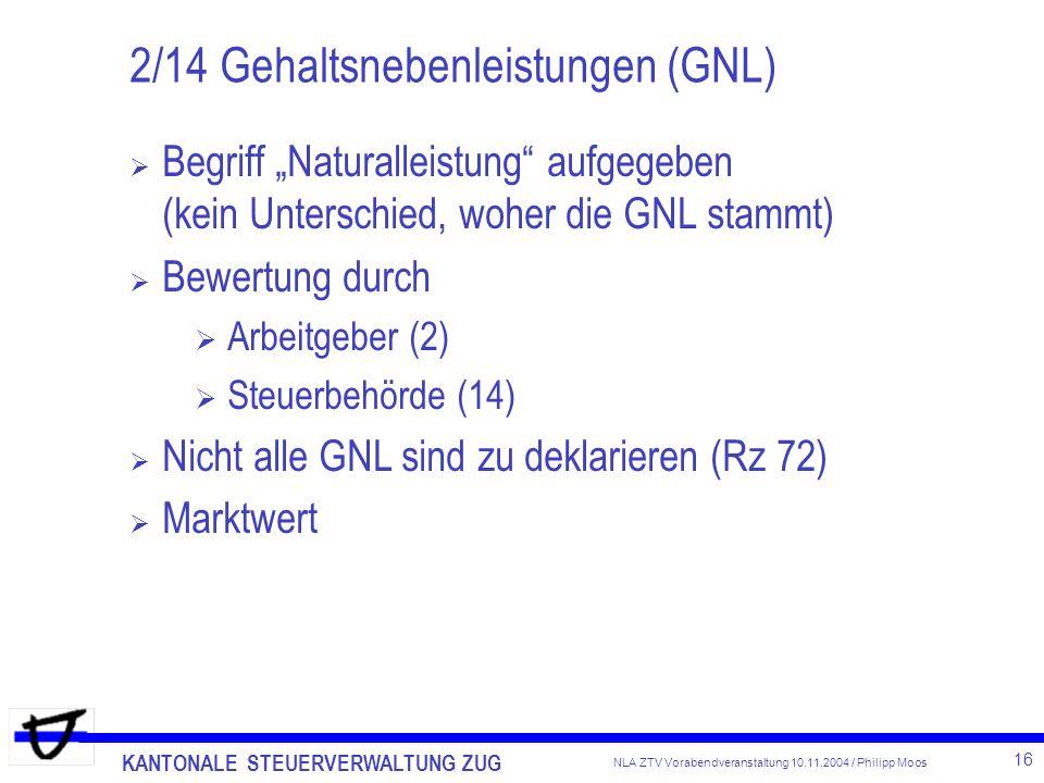 KANTONALE STEUERVERWALTUNG ZUG 16 NLA ZTV Vorabendveranstaltung 10.11.2004 / Philipp Moos 2/14 Gehaltsnebenleistungen (GNL) Begriff Naturalleistung au