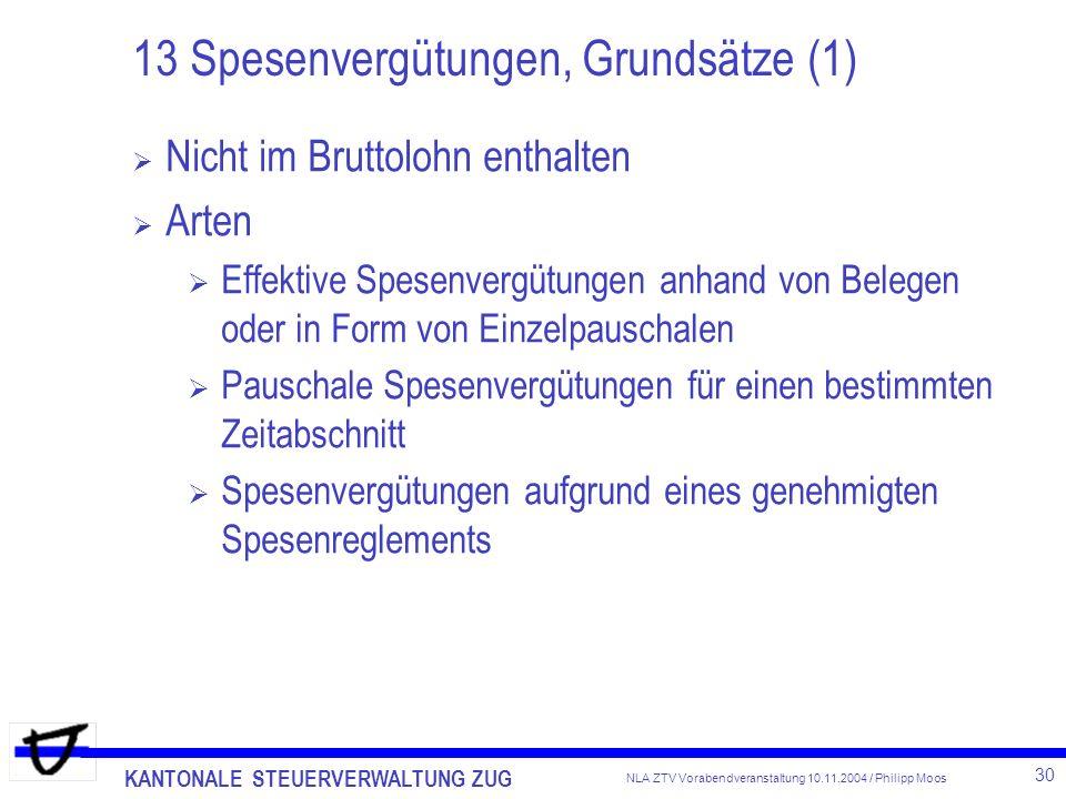 KANTONALE STEUERVERWALTUNG ZUG 30 NLA ZTV Vorabendveranstaltung 10.11.2004 / Philipp Moos 13 Spesenvergütungen, Grundsätze (1) Nicht im Bruttolohn ent