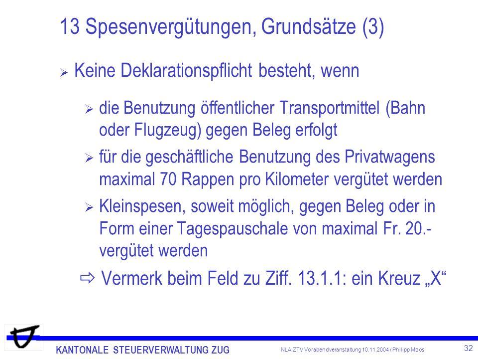 KANTONALE STEUERVERWALTUNG ZUG 32 NLA ZTV Vorabendveranstaltung 10.11.2004 / Philipp Moos 13 Spesenvergütungen, Grundsätze (3) Keine Deklarationspflic