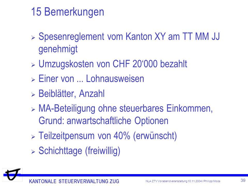 KANTONALE STEUERVERWALTUNG ZUG 39 NLA ZTV Vorabendveranstaltung 10.11.2004 / Philipp Moos 15 Bemerkungen Spesenreglement vom Kanton XY am TT MM JJ gen