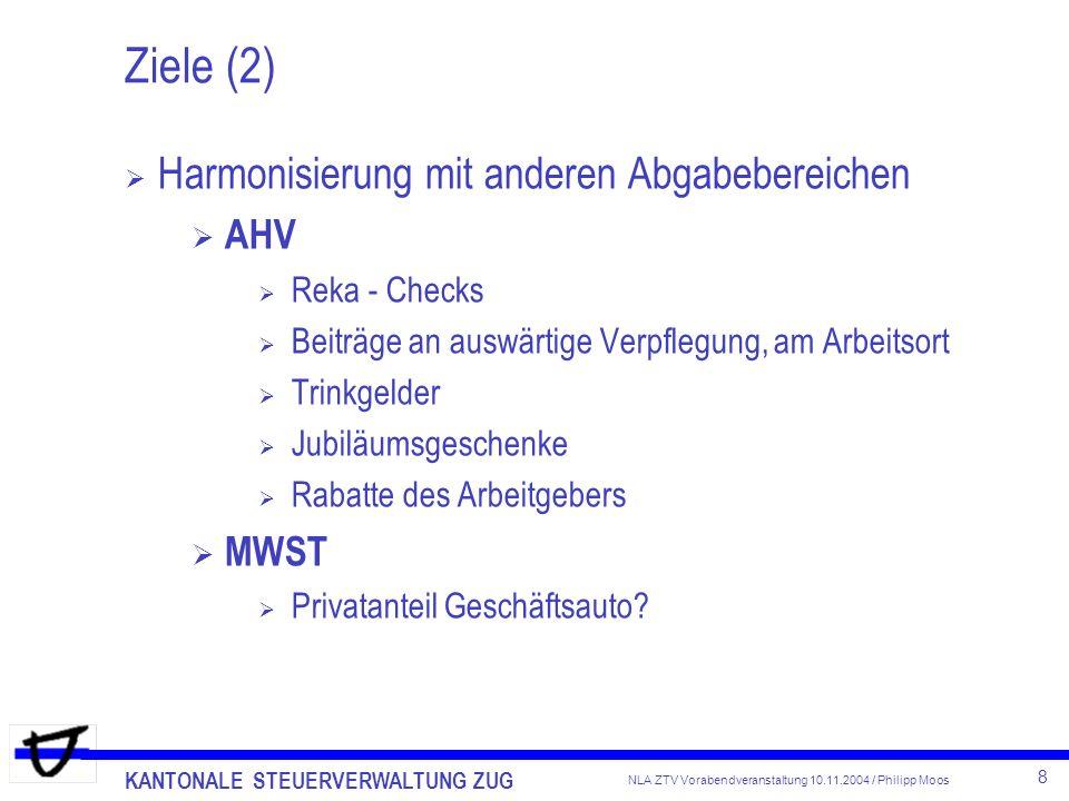 KANTONALE STEUERVERWALTUNG ZUG 8 NLA ZTV Vorabendveranstaltung 10.11.2004 / Philipp Moos Ziele (2) Harmonisierung mit anderen Abgabebereichen AHV Reka
