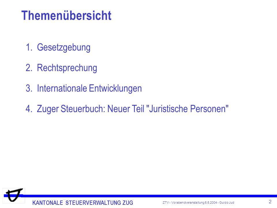 KANTONALE STEUERVERWALTUNG ZUG 2 ZTV - Vorabendveranstaltung 5.5.2004 - Guido Jud Themenübersicht 1.