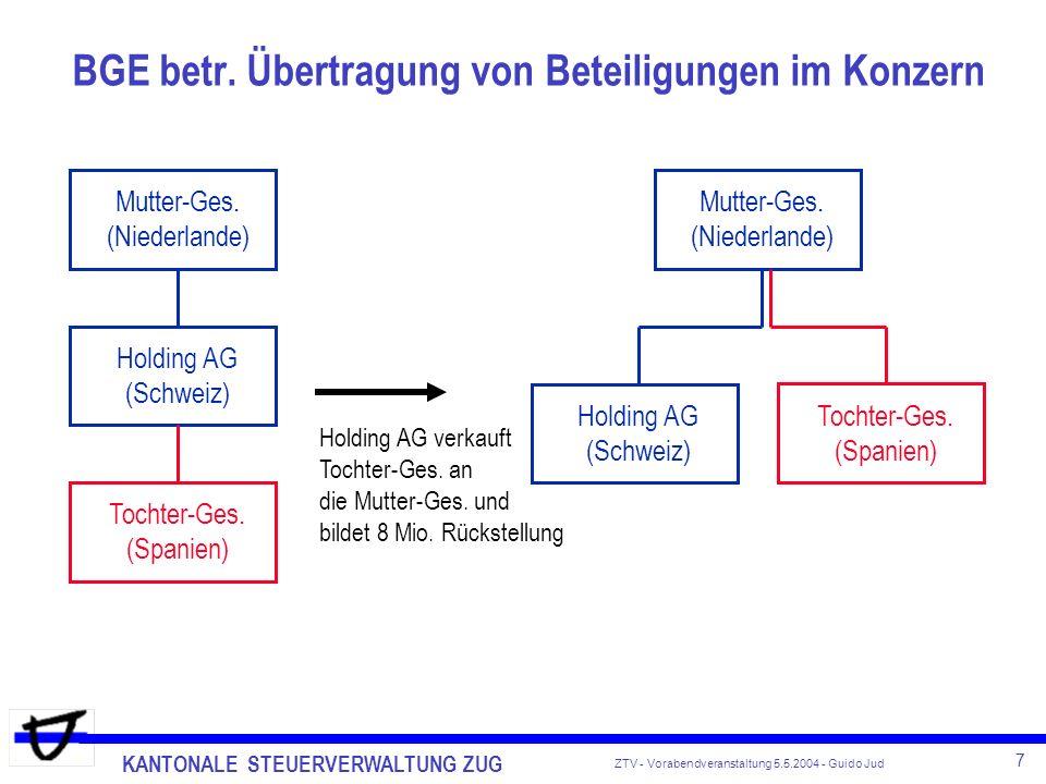 KANTONALE STEUERVERWALTUNG ZUG 8 ZTV - Vorabendveranstaltung 5.5.2004 - Guido Jud OECD-Projekt Schädlicher Steuerwettbewerb Einigung zwischen OECD und CH (Bund) Anfang 2004: erweiterte Amtshilfe bei Holding-/Domizilgesellschaften bei der Revision von DBA s Rundschreiben cost-plus widerrufen was nun.