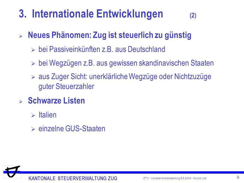KANTONALE STEUERVERWALTUNG ZUG 9 ZTV - Vorabendveranstaltung 5.5.2004 - Guido Jud Neues Phänomen: Zug ist steuerlich zu günstig bei Passiveinkünften z