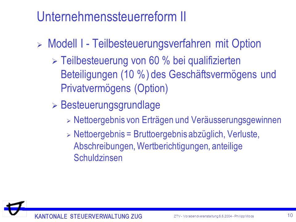 KANTONALE STEUERVERWALTUNG ZUG 10 ZTV - Vorabendveranstaltung 5.5.2004 - Philipp Moos Unternehmenssteuerreform II Modell I - Teilbesteuerungsverfahren